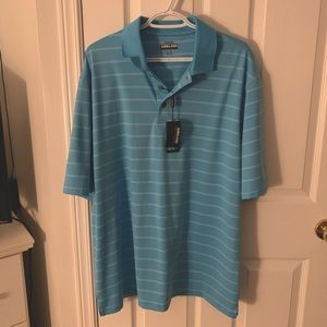 NWT Kirkland signature performance polo blue collared shirt size extra-large